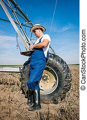 Farmer on irrigation systems