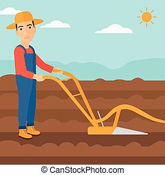 Farmer on the field with plough. - A man using a plough on ...