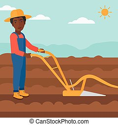 Farmer on the field with plough. - An african-american man ...