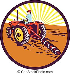 Farmer On Tractor Circle Retro