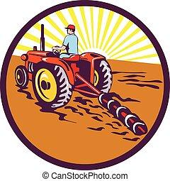 Farmer On Tractor Circle Retro
