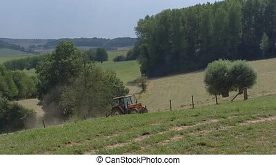 Farmer on tractor haying uphill in South Limburg, The...