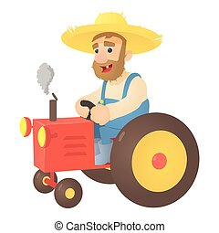 Farmer on tractor icon, flat style