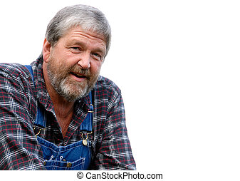 farmer on white - portrait of grey haired bearded farmer, ...