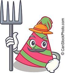 Farmer party hat character cartoon vector illustration