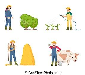 Farmer People with Animal Set Vector Illustration