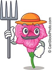 Farmer petunia flowers on cartoon home page vector illustration