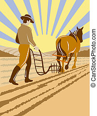 Farmer plowing with old horse - Illustration of a farmer on...