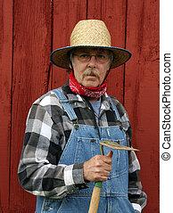 farmer portrait with barn background
