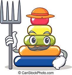 Farmer pyramid ring character cartoon
