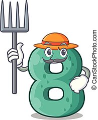 Farmer raster version cartoon shaped Number Eight