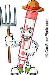 Farmer red white board marker in cartoon