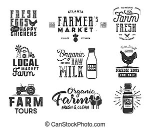 Farmer s Market, organic food, milk and eggs badges set....