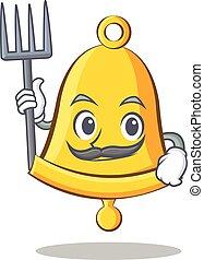 Farmer school bell character cartoon