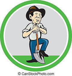 Farmer Shovel Standing Cartoon