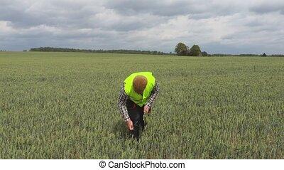 Farmer show thumb up on field