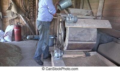 farmer sift grain