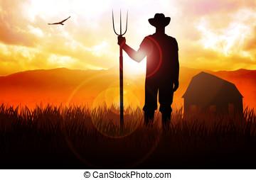 Farmer - Silhouette illustration of a farmer holding a ...