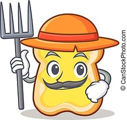 Farmer slice bread cartoon character vector art illustration