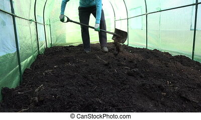Farmer soil fertility - Male farmer dig ground in greenhouse...