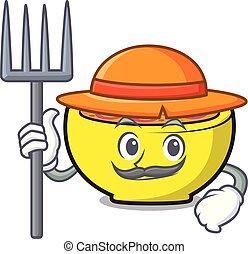 Farmer soup union character cartoon