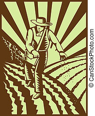 Farmer sowing seeds with sunburst done in retro woodcut...