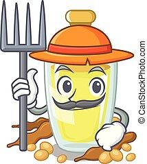 Farmer soybean oil put in cartoon bottle