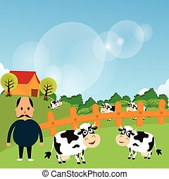 farmer stand with his farm cow cattle eat grass in green field cartoon vector drawing illustration