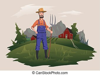 Farmer standing with a pitchfork on the farm. Mountain rural landscape in the background. Ranchman character, vector illustration.