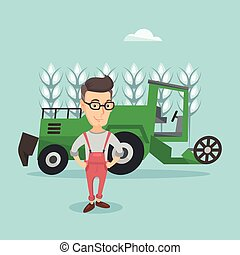 Farmer standing with combine on background. - Caucasian...