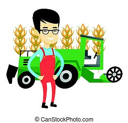 Farmer standing with combine on background. - Asian farmer...