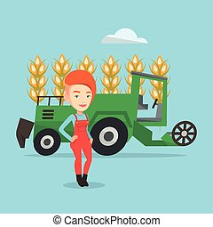 Farmer standing with combine on background. - Female...