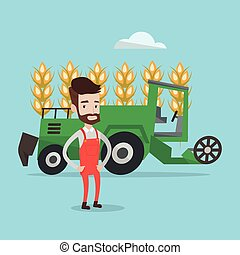 Farmer standing with combine on background. - A hipster...