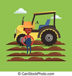 An african-american farmer in summer hat standing on the background of tractor and plowed field. Young happy farmer and tractor on cultivated field. Vector flat design illustration. Square layout.