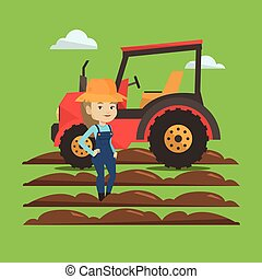 Farmer standing with tractor on background. - Caucasain...
