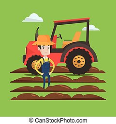 Farmer standing with tractor on background. - A proud farmer...