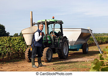 Farmer stood by tractor on vineyard