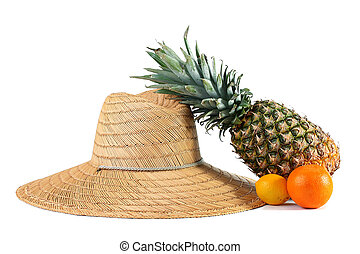 Farmer straw hat with pineapple, an orange and a lemon.