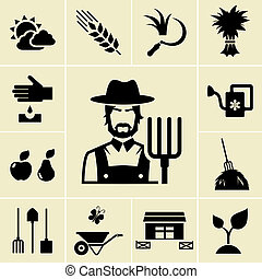 Farmer surrounded by farming themed icons on light...
