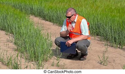 Farmer thinks at cereals field
