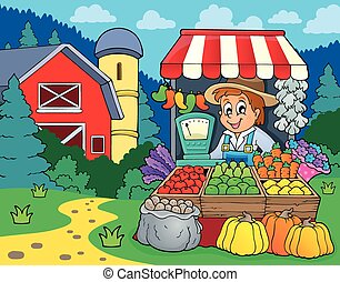 Farmer topic image 2 - eps10 vector illustration.