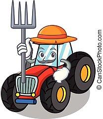 Farmer tractor character cartoon style