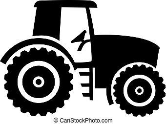 Farmer tractor drawn black