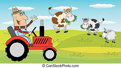 farmer, tractor