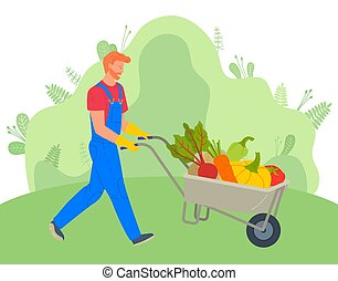 Farmer Using Carriage to Transport Vegetables