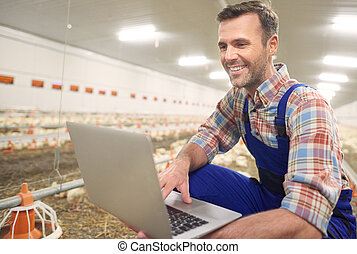 Farmer using laptop in the farm business