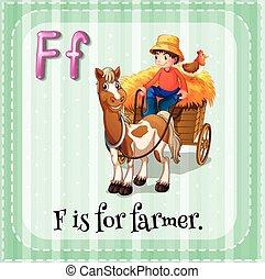 Farmer - Flashcard letter F is for farmer