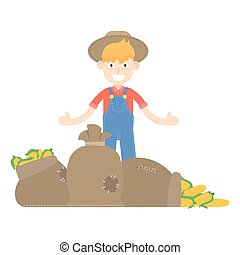 farmer, vector, farm, farming, agriculture, illustration, vegetable, harvest, man, person, icon, cartoon, isolated, character, worker, design, symbol, profession, work, flat, garden, gardener, nature, male, object, gardening, tool, organic, happy, background, business, rural, overall, human, healthy, natural, outdoor, caucasian, agricultural, fresh, sign, food, plant, corn, maize, hat, young, box, vegetables