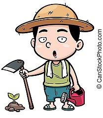 Vector illustration of Cartoon little farmer