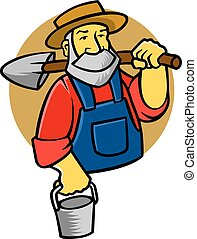 Farmer - vector illustration of old farmer. vector file...